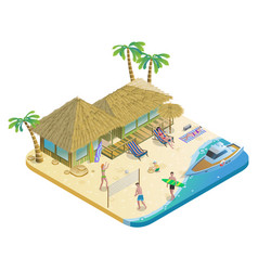 isometric summer beach vacation concept vector image