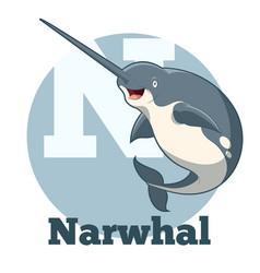Abc cartoon narwhal vector