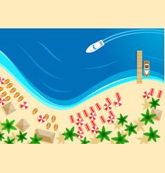 Summer ocean beach vacation top view vector