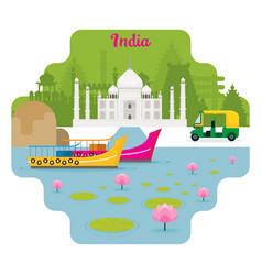 India travel and attraction landmarks vector