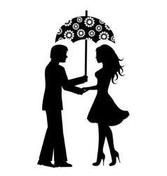 Silhouettes of men and women under the umbrella vector