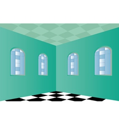 Empty room with green walls vector