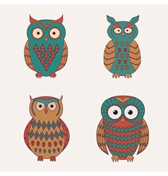 Set of decorative cute owls vector