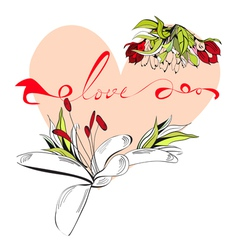 inscription love with heart vector image