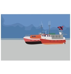 Fishing boats on the beach vector