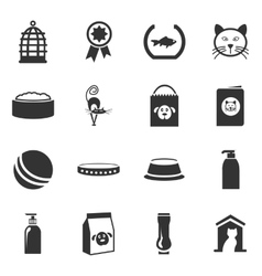 Goods for pets icons set vector