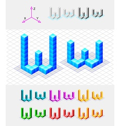 Isometric font from the cubes Letter W vector image