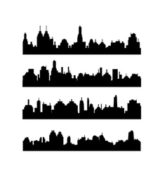 Set of different city silhouettes on white vector image