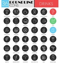 Drink circle white black icon set tea vector