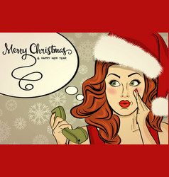 beautiful retro christmas card with sexy santa vector image vector image