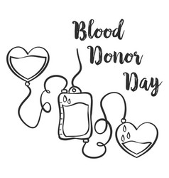 Blood donor day hand draw style vector
