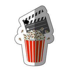 Colorful sticker with popcorn container and vector