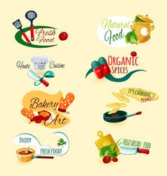 Cooking emblems set vector