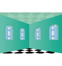 Empty room with green walls vector