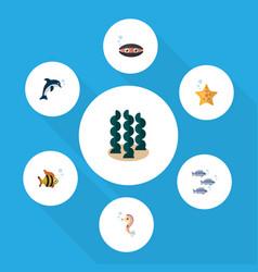 Flat icon nature set of alga sea star seafood vector