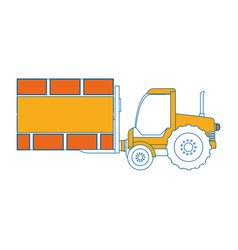 forklift vehicle with board construction vector image vector image