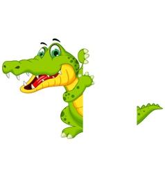 funny crocodile cartoon posing with blank sign vector image vector image