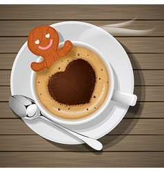 Ginger bread soak in cup of hot cappuccino vector