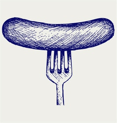 Grilled sausage on fork vector