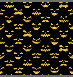 happy halloween emotion evil face seamless pattern vector image
