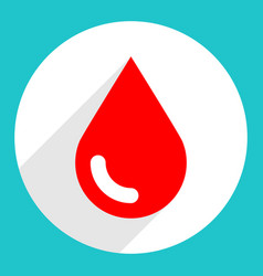 Red blood drop sign circle icon vector