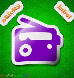 Retro radio icon sign symbol chic colored sticky vector