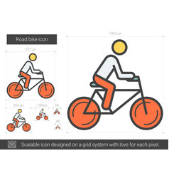 Road bike line icon vector