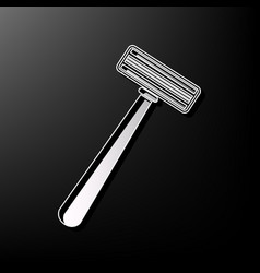 Safety razor sign gray 3d printed icon on vector