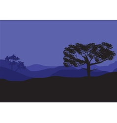 Silhouettes of shade trees at the night vector image