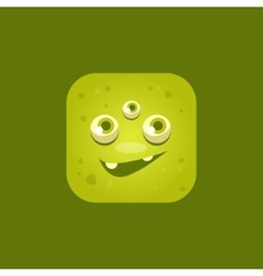 Smiling green monster emoji icon vector