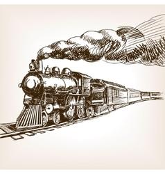 Steam locomotive hand drawn sketch vector
