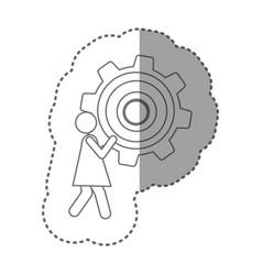 Sticker silhouette pictogram woman holding a vector