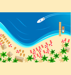 Summer ocean beach vacation top view vector