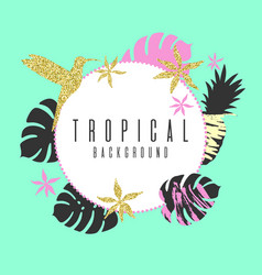 Tropical exotic plants stylish background trendy vector
