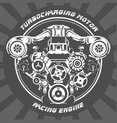turbocharging racing engine - power motor emblem vector image vector image