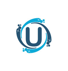 Water clean service abbreviation letter u vector