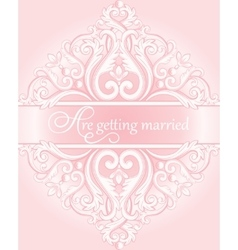 Wedding invitation card with calligraphy vector
