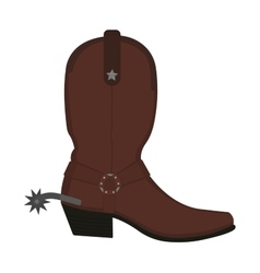 Wild west leather cowboy boot with spur no vector