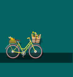Yellow bicycle with empty space vector