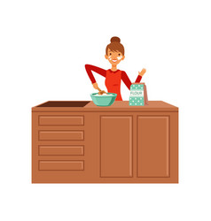 young cheerful woman baking housewife girl vector image
