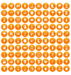 100 farming icons set orange vector