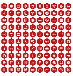 100 motorsport icons hexagon red vector