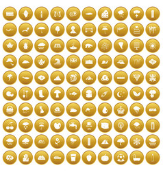 100 rain icons set gold vector