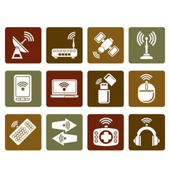 Flat wireless and communication technology icons vector