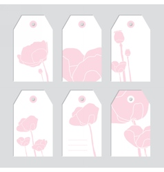 Set of floral tags blank labels pink flowers vector