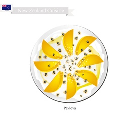 Pavlova meringue cake with mangoes new zealand vector