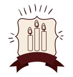 Candle inside frame design vector