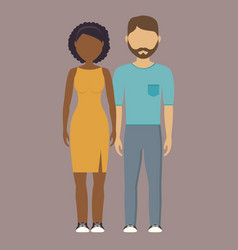 Young couple cartoon icon vector