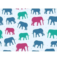 Retro style seamless pattern with elephant vector