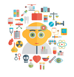 Doctor and medical tools flat vector